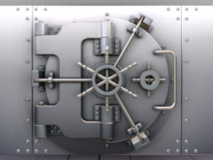 3D render of a bank vault