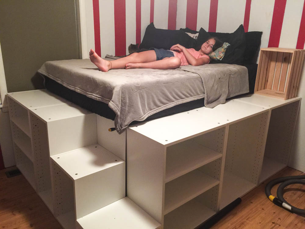 Ikea hack platform bed q a handydadtv for Platform bed with drawers ikea